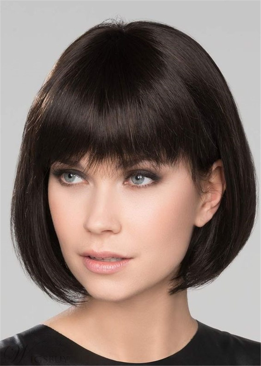 Short Bob Synthetic Hair Natural Straight With Bangs 14 Inches