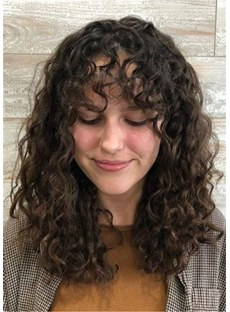 Shoulder Length Curly Human Hair Wig 16 Inches