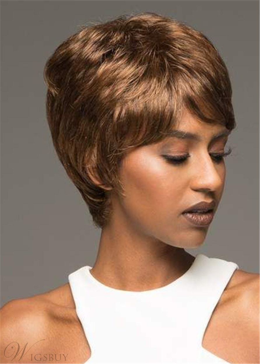 Stunning Cropped Shag With Bangs Human Hair Straight Wig 10 Inches