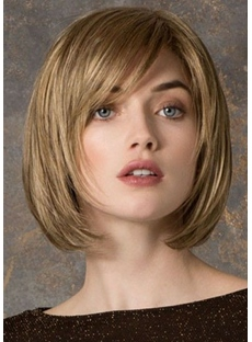 Women's Shorts Bob Layered Hairstyles Straight Human Hair Lace Front Cap Wigs With Bangs 10Inch