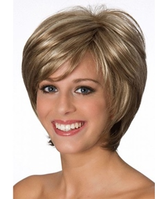 Women's Short Classic Bob Hairstyle Side Part Straight Synthetic Hair Capless Wigs With Bangs 8Inch