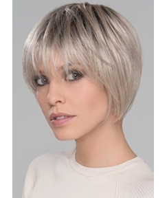 Women's Classic Bob Hairstyles Soft face-framing layers Straight Human Hair Wigs With Bangs Lace Front Wigs 8Inch