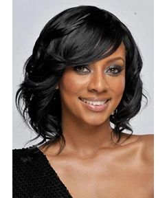 Medium Hairstyle Women's Side Part Wavy Style Human Hair Lace Front Cap Wigs 16Inch