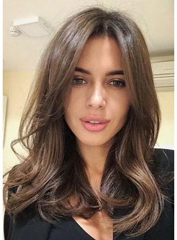 Women's Long Length Wavy Layered Hairstyles Synthetic Hair Wigs Middle Part Capless Wigs 24Inch