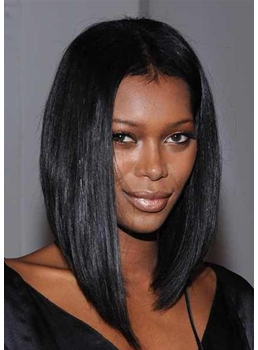 African American Women's Straight Middle Part Human Hair Lace Front Cap Wigs 16Inch