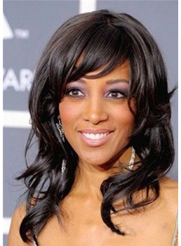 African American Women's Wavy Synthetic Hair Wigs With Bangs Medium Hairstyle Capless Wigs 16Inch