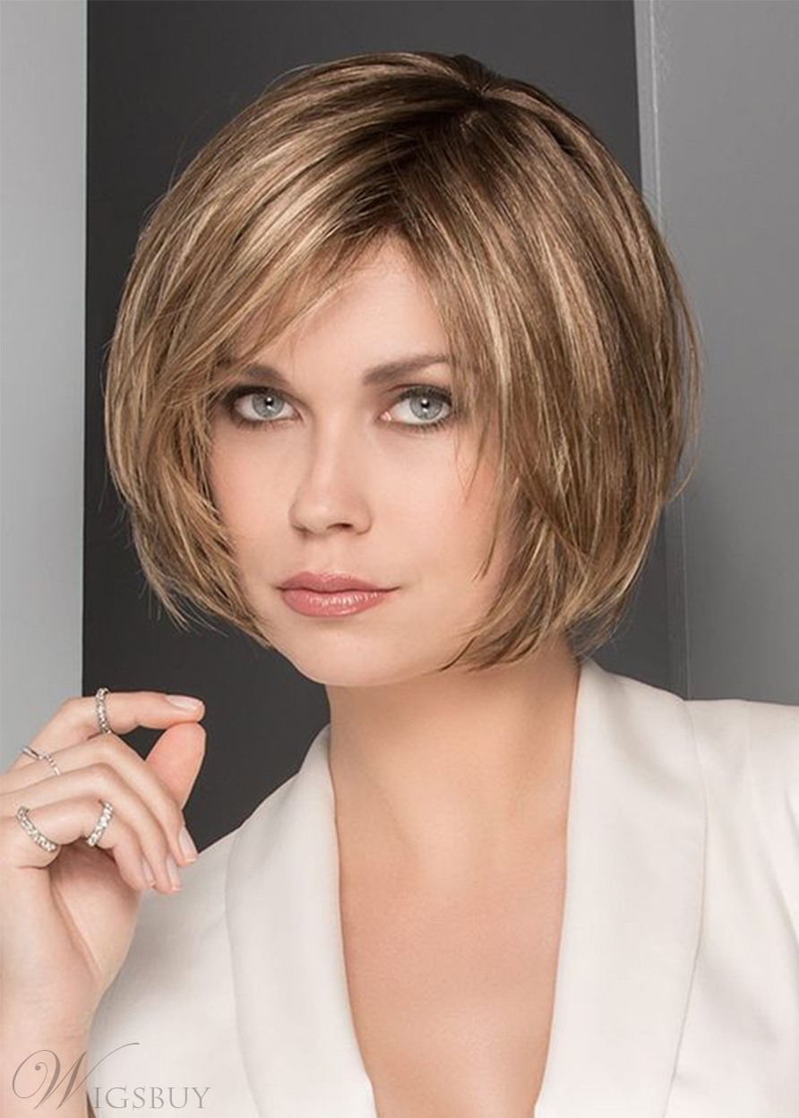 Short Bob Hairstyles Women's Layered Straight Human Hair Wigs Side Part Lace Front Wigs With Bangs 10Inch