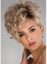 Fashion Women's Short Cut Bangs Curly Hairstyles Synthetic Hair Lace Front Cap Wigs 8Inch