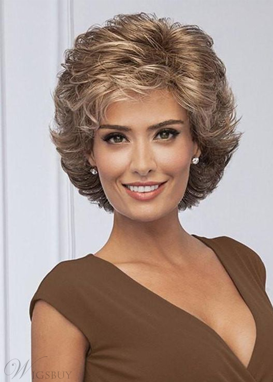 Women's Short Layered Hairstyles Side Part Synthetic Hair With Bangs Capless Wigs 10Inch