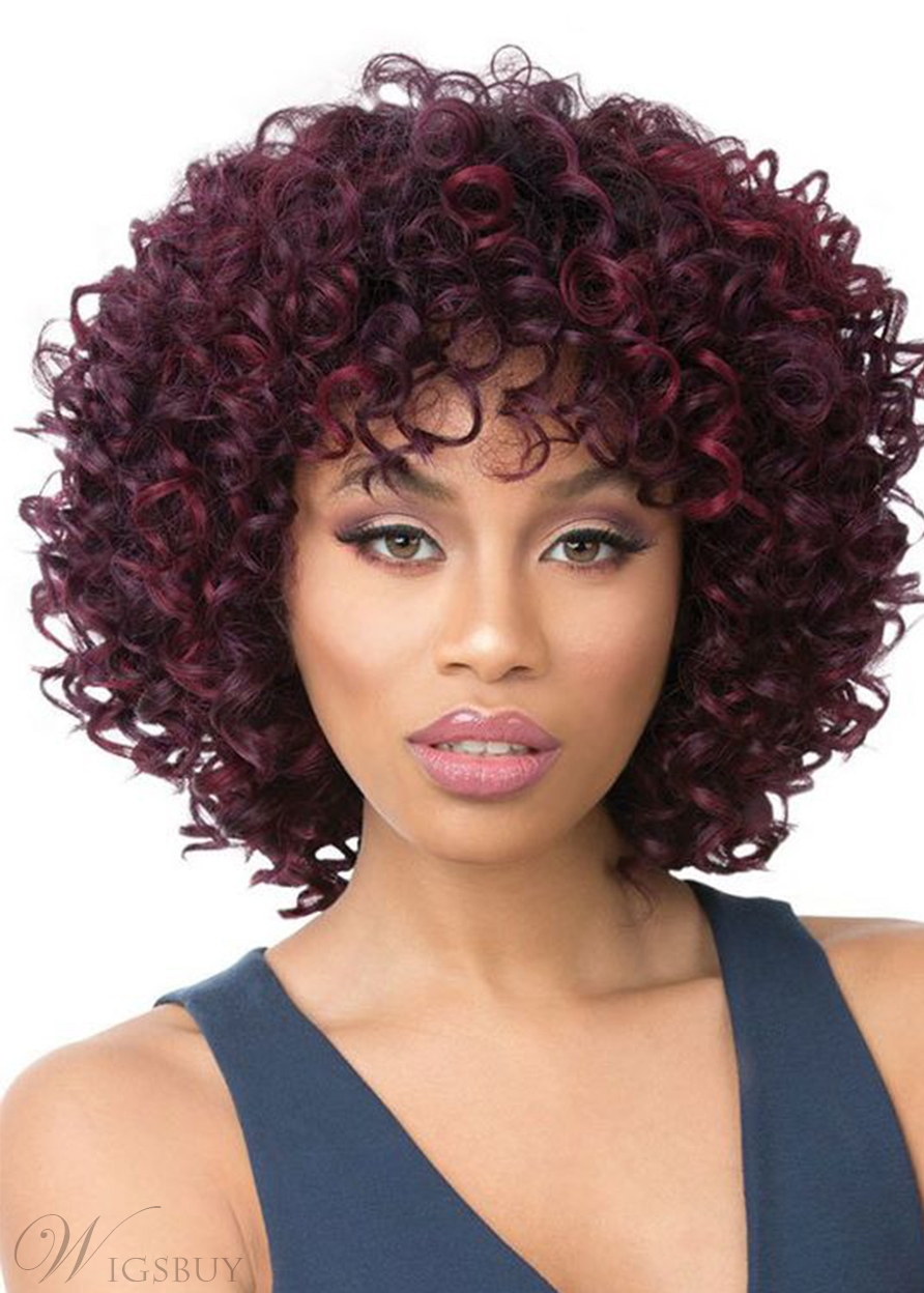 African American Women's Kinky Curly Medium Bob Hairstyle Synthetic Hair Capless Wigs 14Inch