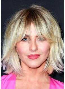 Medium Bob Shag Human Hair Cut With Bangs Lace Front Wig 14 Inches