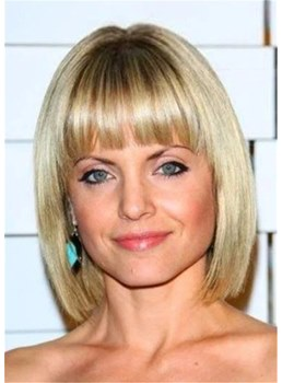 Blonde Bob Synthetic Hair With Bangs Lace Frontal Wig 14 Inches