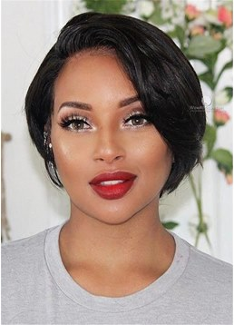 Short Pixie Cut Human Hair Bob Lace Front Wig 12 Inches