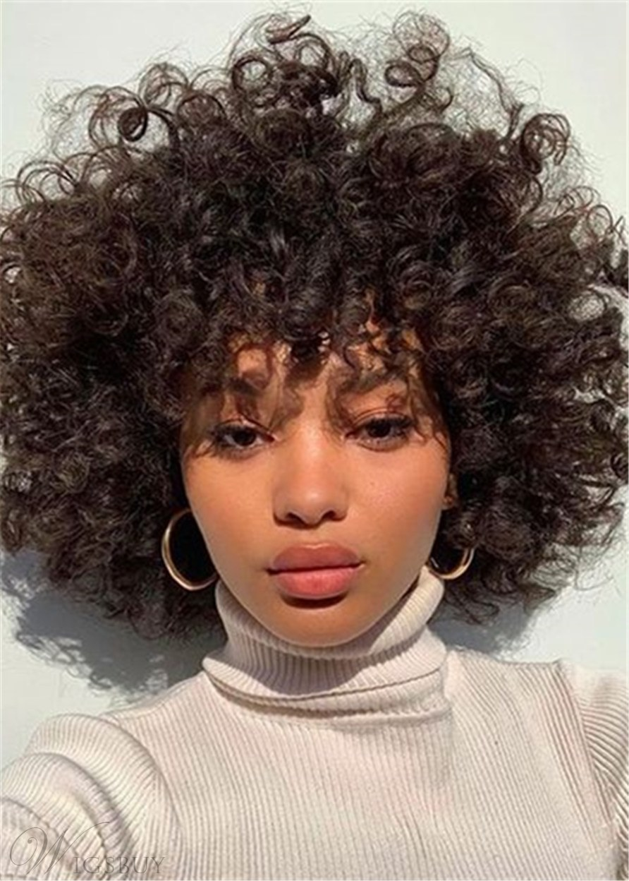 African American Afro Curly Shoulder Length Synthetic Hair Women Wigs 12 Inches
