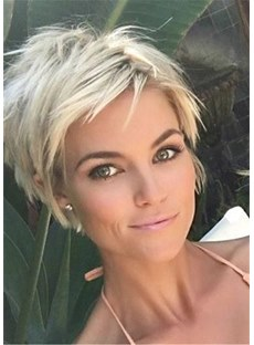 Short Boy Cut Hairstyle Human Hair Wavy Women Wig