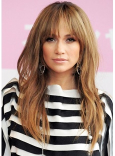 Women's Middle Part Long Layered Hairstyles Wavy Synthetic Hair Wigs With Bangs Capless Wigs 22Inch