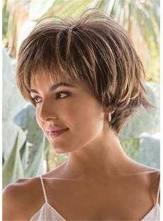Short Layered Hairstyle Synthetic Hair Natural Straight Wig 12 Inches