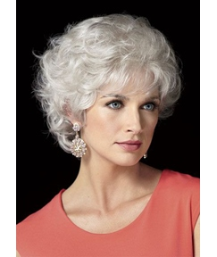 Women's Classic Short Cut Natural Looking Curly Human Hair Lace Front Wigs 8Inch