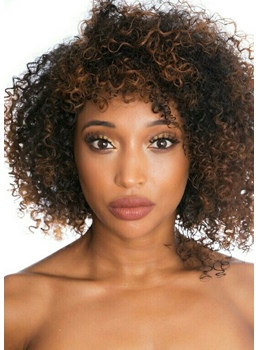 Medium Hairstyles Women's Afro Kinky Curly Human Hair Lace Front Wigs For African American 12Inch