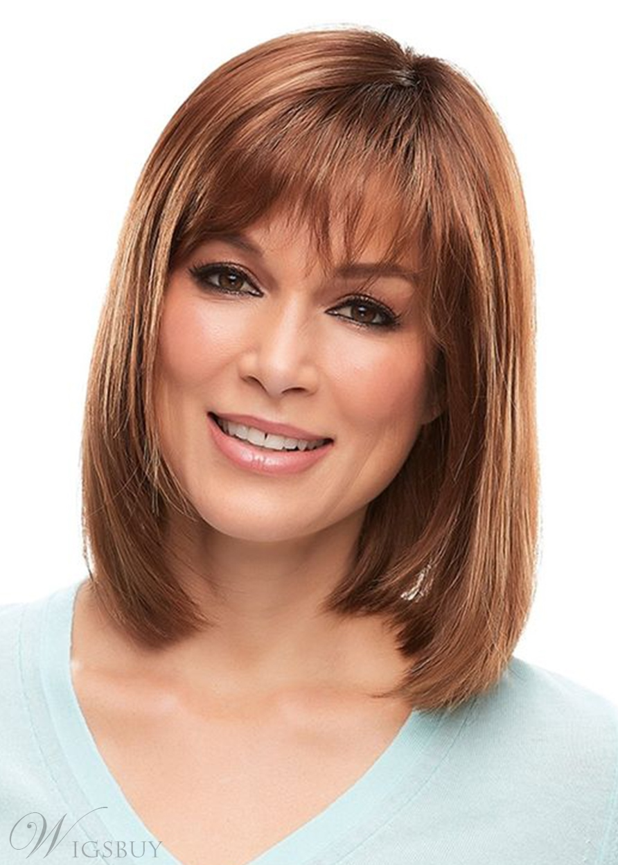 Women's Medium Bob Hairstyles Natural Straight Human Hair Wigs Lace Front Wigs With Bangs 16Inch