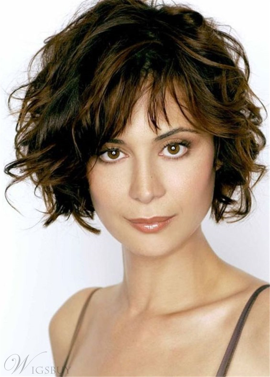 Short Curly Bob Hairtype Synthetic Hair Curly Women Wig 12 Inches