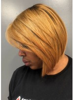 African American Women's Blonde Layered Bob Hairstyles Straight Human Hair Lace Front Wigs 12Inch