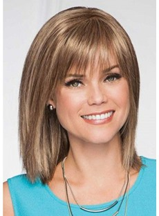 Women's Medium Hairstyles Natural Straight Synthetic Hair Wigs With Bangs Capless Wigs 18Inch