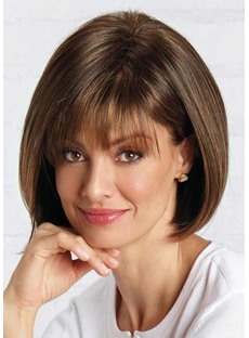 Natural Looking Women's Short Bob Hairstyles Straight Human Hair Wigs With Bangs Lace Front Wigs 12Inch