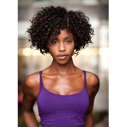 Afro Kinky Curly Womens Side Part Natural Looking Synthetic Hair Capless Wigs 12Inch