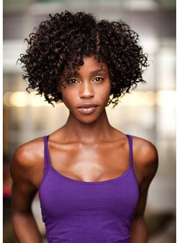 Afro Kinky Curly Women's Side Part Natural Looking Synthetic Hair Capless Wigs 12Inch