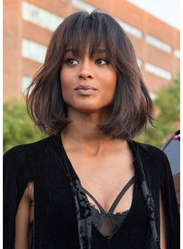 Medium Bob Hairstyles Women's Natural Straight Human Hair Wigs With Bangs Lace Front Wigs 16Inch