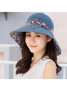 Vintage Adult Women's Print Bowknot Dome Crown Wide Brim Polyester Bucket Hat For Spring/Summer/Fall