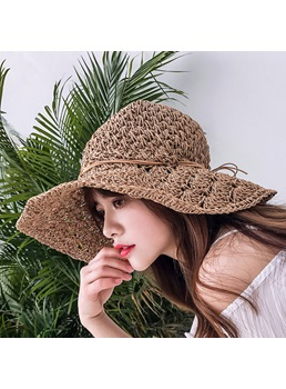 Sweet Women/Ladies Summer Bowknot Hemming Embellishment Rolled Brim Dome Crown Straw Plaited Article Hats