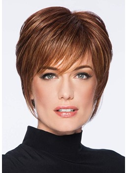 Natural Looking Short Pixie Cut Hairstyles Women's Straight Human Hair Lace Front Wigs 8 Inch