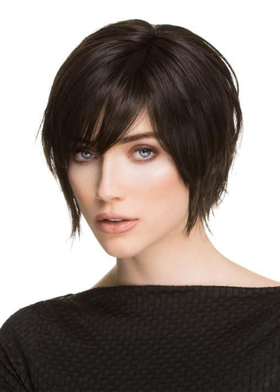 Women's Pixie Cut Side Part Bangs Hairstyles Straight Synthetic Hair Capless Wigs 8Inch