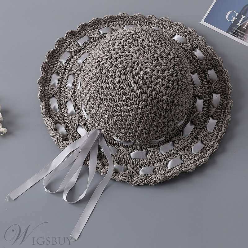 Sweet Women's Bowknot Embellishment Plain Pattern Wide Brim Dome Crown Straw Plaited Article Hats