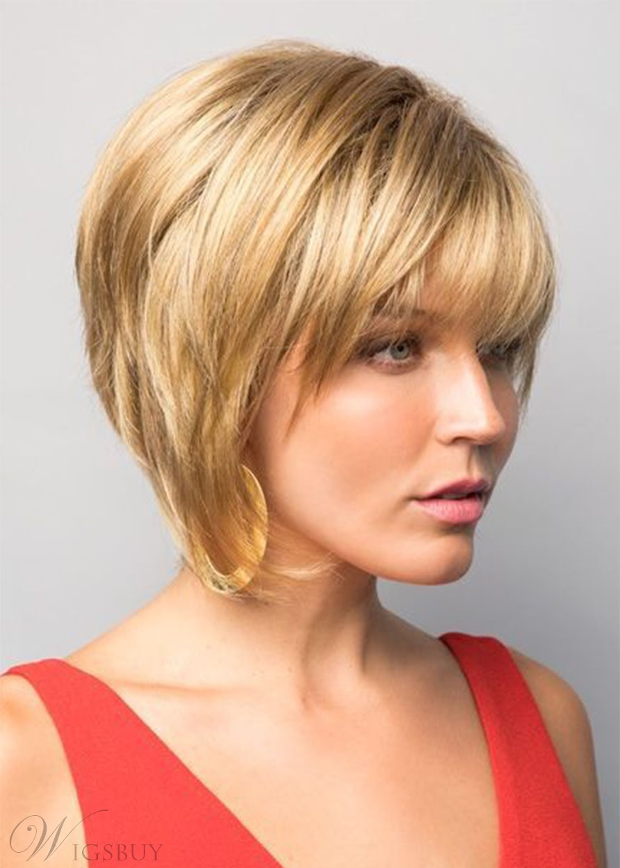 Natural Looking Women's Short Bob Hairstyles Straight Human Hair Wigs With Bangs Lace Front Wigs 10Inch