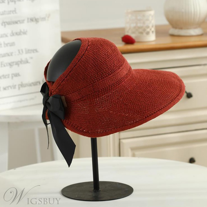 Spring/Summer/Fall Season Adult Women's Casual Style Plain Wide Brim Visor Type Knitted Hats