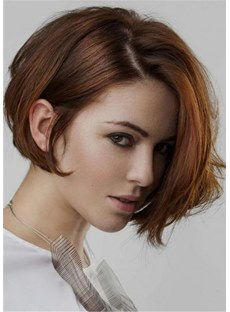 Cute Bob Hair Styles Human Wavy Hair Women Wig 14 Inches