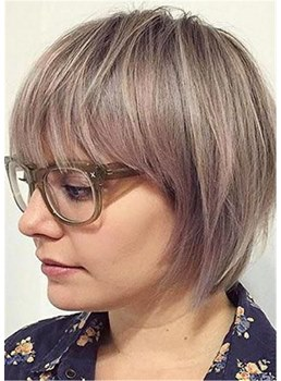 Bob Hairstyle With Fringes Synthetic Hair Women Wig 14 Inches