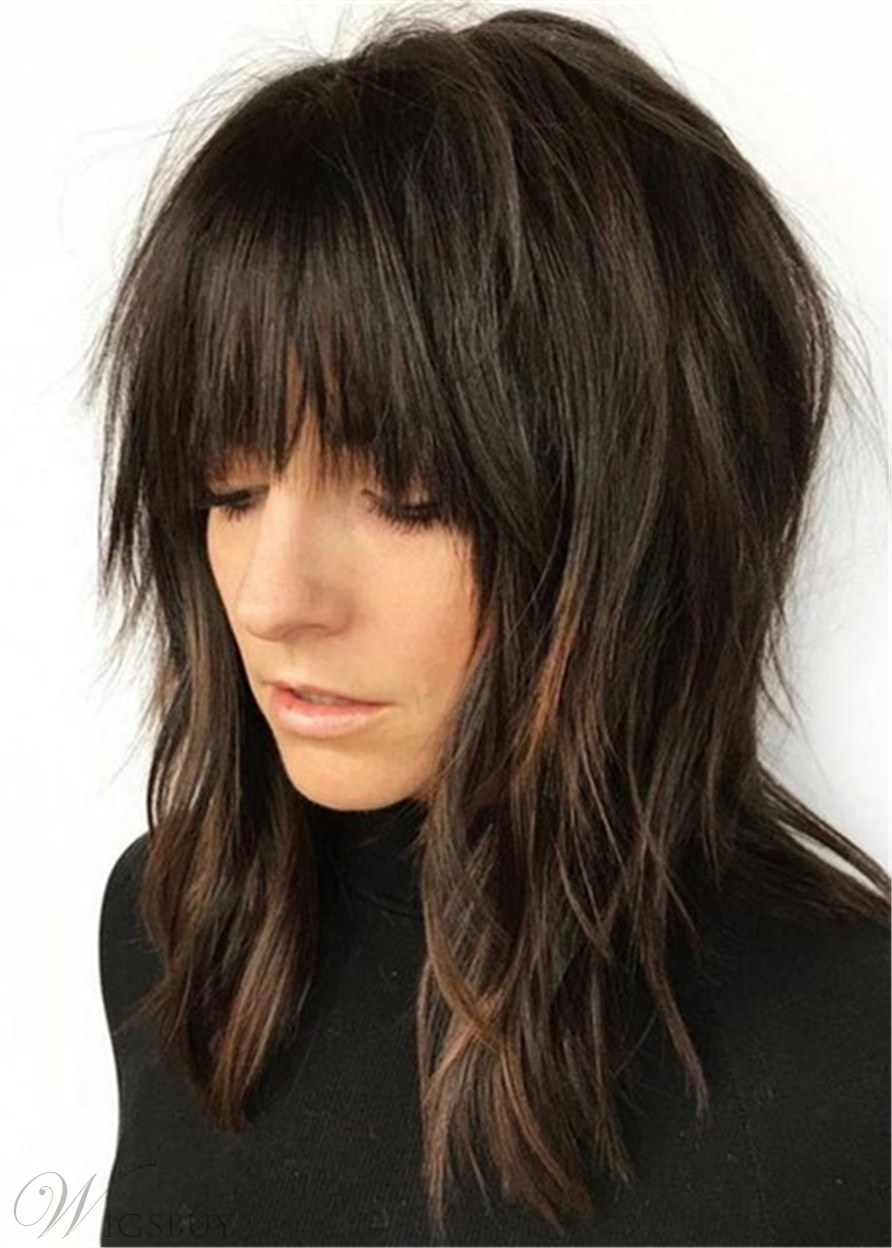Long Straight Hairstyle Shag With Bangs Synthetic Hair Wowmen Wig 16 Inches