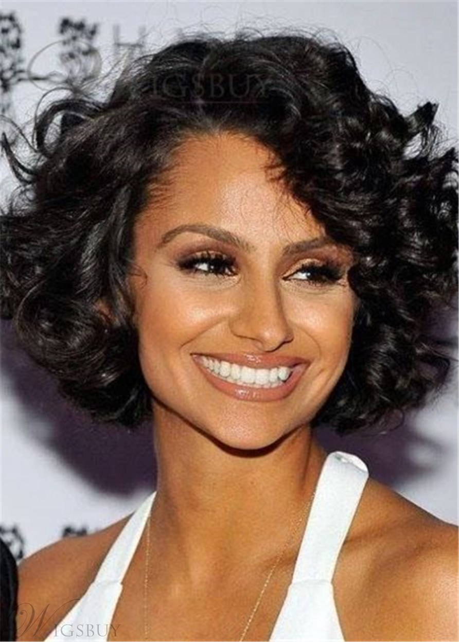 African American Wigs Short Bob Wigs Haircut Synthetic Curly Women Wig 14Inches