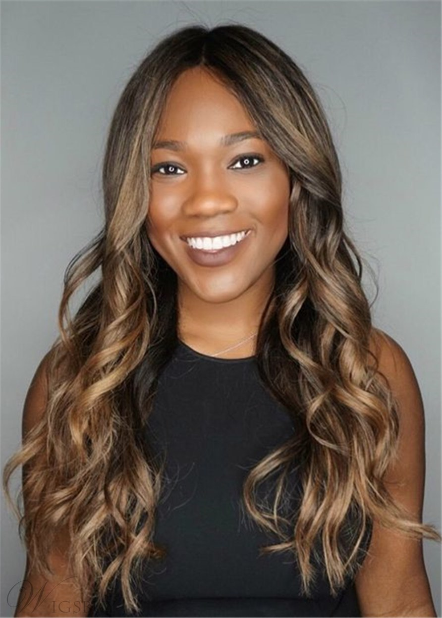Women's Long Hairstyle Human Hair Layered Cut With Textured Waves 24 Inches