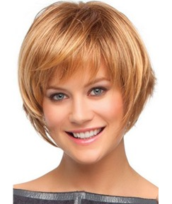 Short Bob Hairstyles Women's Brown Color Straight Human Hair Wigs Lace Front Wigs With Bangs 10Inch