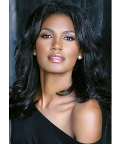 Middle Part Wavy Hairstyles Wigs For Black Women African American Lace Front Human Hair Wigs 18Inch