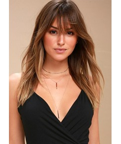 Trendy Long Hairstyle Women's Natural Straight Synthetic Hair Wigs With Bangs Capless Wigs 22Inch