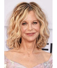 Older Women's Medium Length Hairstyles Middle Part Wavy Synthetic Hair Capless Wigs 14Inch