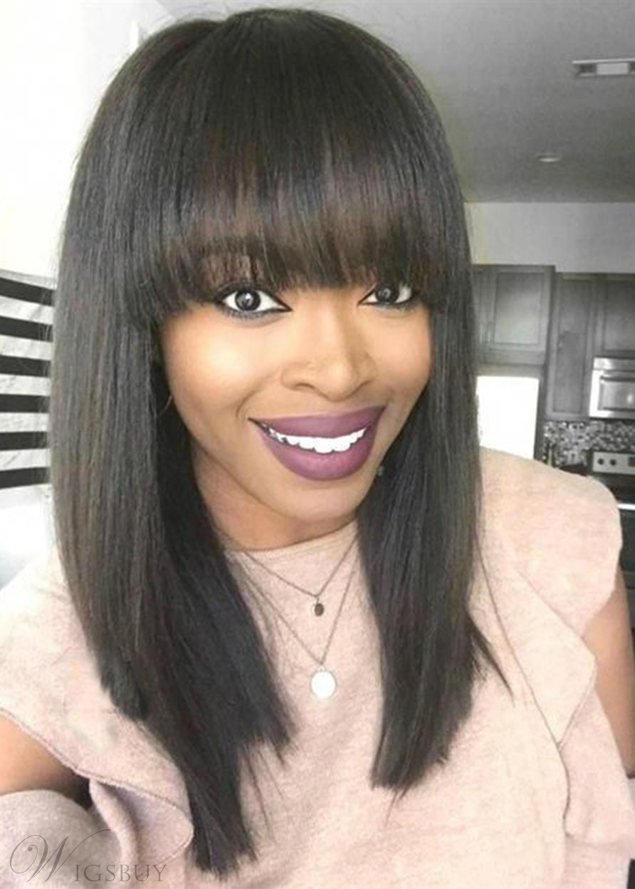 Women's Medium Bob Hairstyles Straight Human Hair Wigs With Bangs Lace Front Cap Wigs 18 Inch