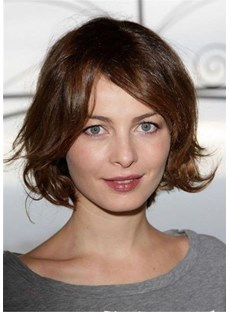 Short Bob Hairstyle Synthetic Hair Wavy Wig 12 Inches