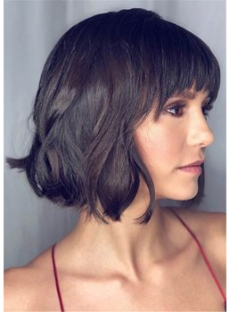 Wavy Human Hair Wig Short Hairstyles For Fine Hair 14 Inches